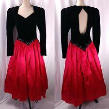 6e9e11eb64 Vtg Scott McClintock Ball Gown Dress Size 10 Velvet Satin Open Back Gothic  80s