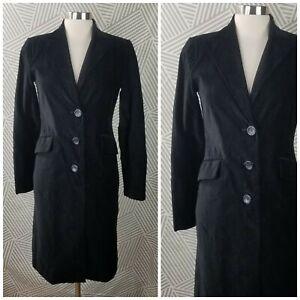 Kenar Blazer Long Jacket size 2 Career Black Velvet Duster Coat Romantic dressy
