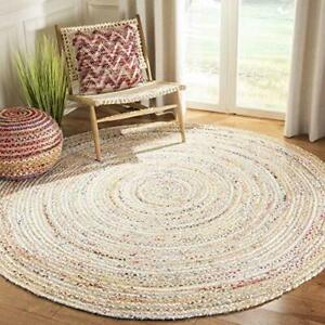 Rug 100% Cotton Braided 4x4 Feet Area Rug Handwoven Reversible Living