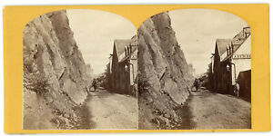 CHAMPLAIN STREET QUEBEC CANADA WHERE MONTGOMERY FELL STEREOVIEW BY NOTMAN