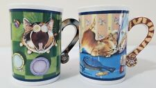 """Comical Cats Porcelain Collector Mugs """"Feed Me!"""" and """"The Face Off"""" - New"""