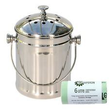 Mini Polished Stainless Steel Kitchen Compost Caddy & 50x 6L Biobags