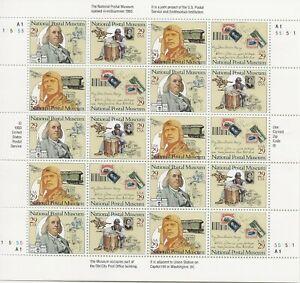 1993 29 cent Postal Museum full Sheet of 20, Scott #2779-2782, Mint NH