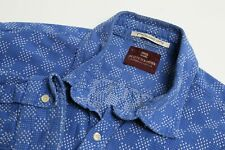Scotch & Soda Japanese Sashiko Men's Shirt XL Long Sleeve Check Blue Tailored