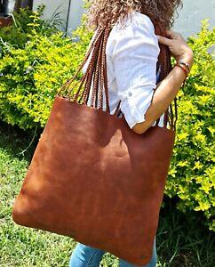 Bag Women Handbags Shoulder Fashion HANDMADE FULL GRAIN LEATHER COLOR WALNUT