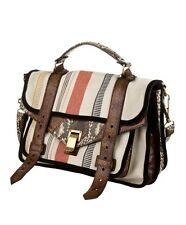 Proenza Schouler PS1 Medium Stripped Canvas Satchel O/S Multi Color NWT $1825