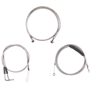 """Stainless +8"""" Cable & Brake Line Bsc Kit 2006-2017 Harley-Davidson Dyna No ABS"""