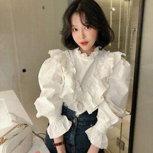 Womens Long Puff Sleeve Tops Ruffle Lolita Shirt Blouse Sweet Chic Victorian