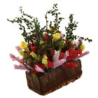 1/12 Dollhouse Miniature Multicolor Flower Bush With Wood Pot LW