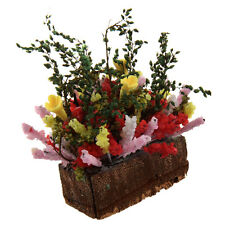 1/12 Dollhouse Miniature Multicolor Flower Bush With Wood Pot LW