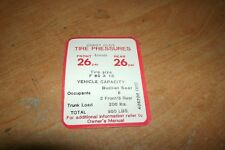 1969 OLDSMOBILE 442 4-4-2 HURST TIRE PRESSURE SPECIFICATIONS DECAL STICKER NEW