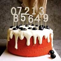 Gold Silber Glänzend Rhinestone Nummer Cake Topper Geburtstagsfeier Kuchen Dekor