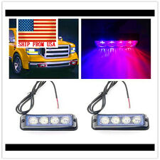 2Pcs Red/Blue 4 Led Strobe Light Car Emergency Dash Flashing Warning Lamp 12V
