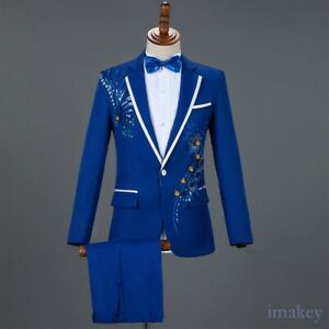 Men 2Pcs Costume Sequins Suit Embroidery Blazer Jacket Pants One Single-breasted