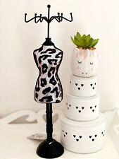 Wooden Animal Leopard Print Black Silver Sequin Mannequin Jewellery Holder Stand