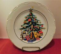 """Vintage Crown Regent Fine China Christmas Tree Plate 8"""" Made in Romania"""