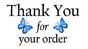 325 x THANK YOU FOR YOUR ORDER - BLUE BUTTERFLY - STICKERS MATTE WHITE LABELS