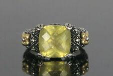 Barbara Bixby Sterling Silver 18K Yellow Gold Lemon Quartz Flower Ring Band Sz 6