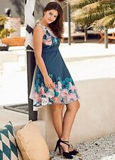 Sheego Navy/Floral Fit & Flare Dress  Size 26  [ref 14]