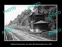 OLD LARGE HISTORIC PHOTO OF GALLITZIN PENNSYLVANIA THE MG RAILROAD TOWER c1940