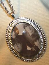 Handsome Silvertone Rope Rimmed Black & White Fab 4 Beatles Pendant Necklace