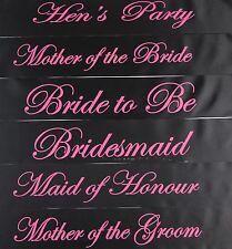 HENS NIGHT BRIDAL SASH SASHES BRIDE BRIDESMAID MAID OF HONOUR - BLACK + HOT PINK