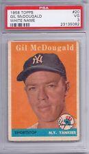 1958 Topps # 20 Gil McDougald White Name VG PSA 3
