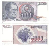 Yugoslavia 5000 Dinara 1985 P-93a UNC Hyper Infaltion Banknote - Tito