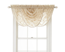 """JCPenney Home Harmon Sheer Rod-Pocket Waterfall Valance Beige 42""""W x 37""""L"""