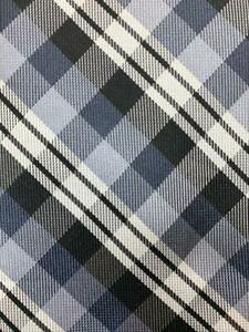 UNLISTED KENNETH COLE BLACK GRAY WHITE PLAID POLY NECKTIE TIE MAR0921A #C12