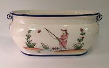 """Vintage Chinoiserie Asian 14"""" Jardiniere Cache Pot by """"Peint a la Main"""" France?"""