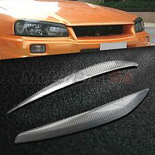 Carbon fiber Head light Eyelid Eyebrow Cover For Nissan Skyline GTR GT-T R34
