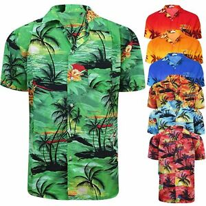 Mens Hawaiian Shirt Floral Rockabilly Palm Sunset Surf Beach Party Holiday Stag