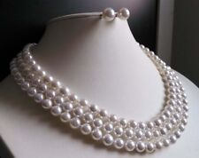 """3 Rows 8mm white south sea shell pearl necklace Earrings 17-19"""" JN374"""