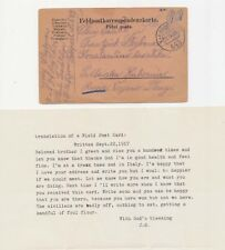 A8 - GERMANY WWII 1917 FELDPOST 643 POW PRISIONER OF WAR IN ITALY CARD WITH