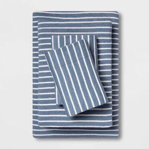 3pc ROOM ESSENTIALS Solid Jersey Sheet Set   TWIN   Blue Stripe   🆕