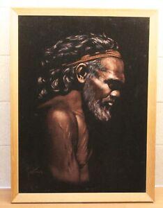 Vintage Original Australian Aboriginal Painting Signed MARTINUS Aboriginal Male