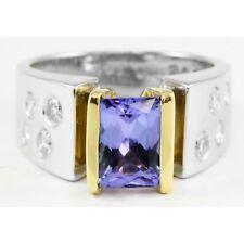 18k White Yellow Gold Emerald Cut Tanzanite Round Diamond Wide Ring Band 2.00TCW