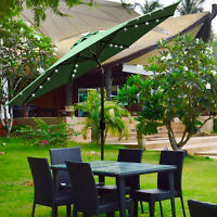 9ft Solar LED Lighted Patio Umbrella w/ Tilt Adjustment Outdoor Garden