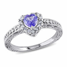 Sterling Silver Tanzanite and 1/6 ct TDW Diamond Heart Ring H-I I3