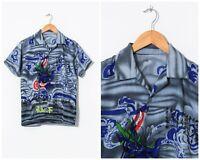 90s Vintage Mens Anime Japanese Graphic Shirt Short Sleeve Grey Size XS