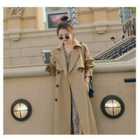 Autumn Women Long Trench Coat Double Breasted Belted Loose Outerwear Coat Jacket