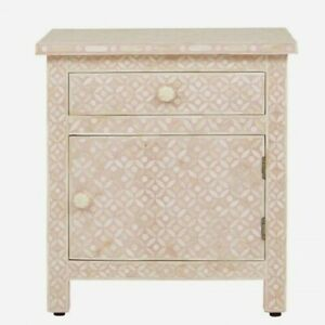 Bone Inlay Bedside Cabinet Table Pink Geometric (MADE TO ORDER)