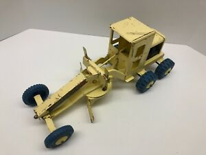 Marx Power Grader, Pressed Steel, Vintage, Yellow with Blue Tires