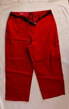 212 Collection Red Crop Pants with Black Belt size 6 Retail $40