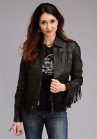 Fringe Leather Jacket Women Black Biker Moto Size S M L XL XXL 3XL Custom Made