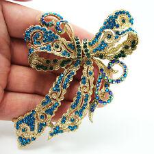 Vintage Style Butterfly Bowknot Crystal Brooch Pin Cyan Rhinestone Crystal