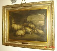 Antique British John W Morris Attributed Cattle and Sheep In a Barn Oil Painting