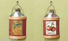 2 Country Apple Farm Fresh Carrot Vintage Old Fashioned Wall Jug Kitchen Decor