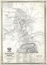 1847 Kocziczka City Map or Plan of Krakow, Poland